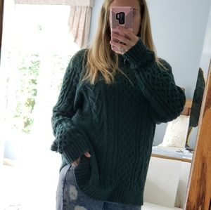 Cozy oversized mens XXL forest green cable sweater